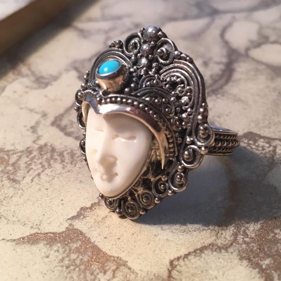 Jewelry Carved Bone Ring Sleeping Beauty Turquoise Poshmark
